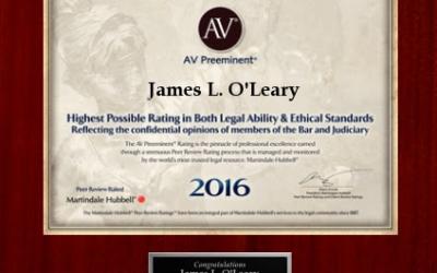 2016 Martindale Hubbell AV Rating Judicial Edition.