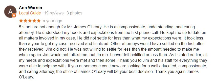 Google Review - Attorney James O'Leary